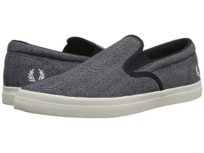 Fred Perry Underspin Slip-On Printed Canvas (Navy/Porcelain) Men