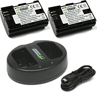 Wasabi Power LP-E6, LP-E6N Battery (2-Pack) and Dual Charger for Canon EOS 5D Mark II/III/IV, EOS 5DS, 5DS R, EOS 6D, 6D Mark II, EOS 7D, 7D Mark II, EOS 60D, 60Da, 70D, 80D, EOS R, XC10, XC15