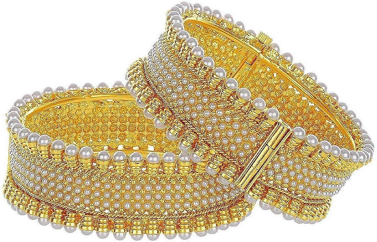 Efulgenz Indian Style Bollywood Traditional Gold Plated Faux Pearl Wedding Bracelet Bangle Set Jewelry