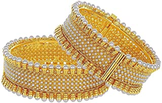 Efulgenz Fashion Jewelry Indian Bollywood 14 K Gold Plated Faux Pearl Crystal Cuff Bracelets Bangle Set (2 Pc)