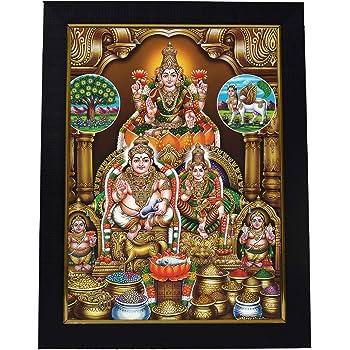 101 Temples - Divinity Eternity Spirituality Wooden Lakshmi Kubera Darbar Photo Frame (Brown)