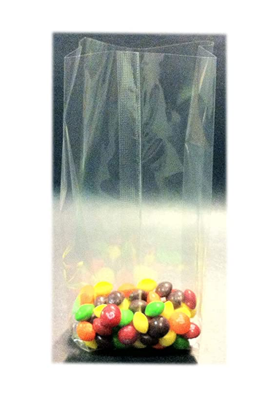 100 Pcs 5x4x15 Clear Side Gusseted Cello Cellophane Bags Good for Candy Cookie Bakery (by UNIQUEPACKING)