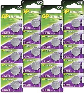 GP CR2032 3V - Pack de 20 Pilas CR 2032 de Litio botón | Sin Mercurio | Pack Compuesto por 4 blísters de 5 Pilas CR2032 / DL2032 envasadas Individualmente