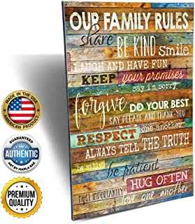 Marla Rae - Our Family Rules Decorative Plaque - Inspirational Quotes Wall Art, Perfect Decor Sign for Living Room, Bathroom and Kitchen (12
