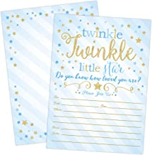 Boy Twinkle Twinkle Little Star Baby Shower Invitations, Blue and Gold Twinkle Twinkle Little Star Boy Baby Shower Invites, 20 Fill in Style with Envelopes