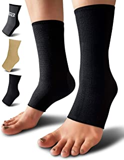 Compression Ankle Brace (Pair) – Great Ankle Support That Stays in Place – for Sprained Ankle and Achilles Tendon Support – Perfect Ankle Sleeve for Sports, Any Use