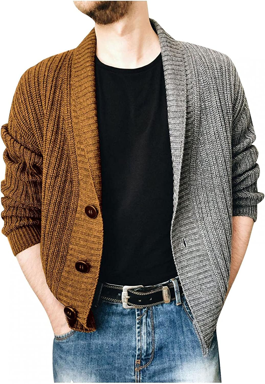 Huangse Men's Shawl Collar Cardigan Sweater Slim Fit Cable Knit Button Down Color Block Sweater Fall Knitted Jacket