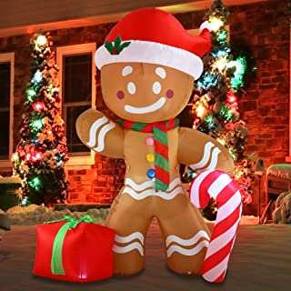 Joiedomi Christmas Inflatable Decoration 8 FT Gingerbread Man with Build-in LEDs Blow Up Self-Inflatable for Christmas, Party Indoor, Outdoor, Yard, Garden, Lawn Décor.