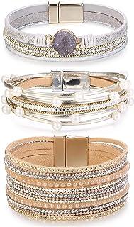 Florideco 3Pcs Leather Bracelet for Women Girls Braided Cuff Wrap Bracelets Multilayer Bohemian Bangle
