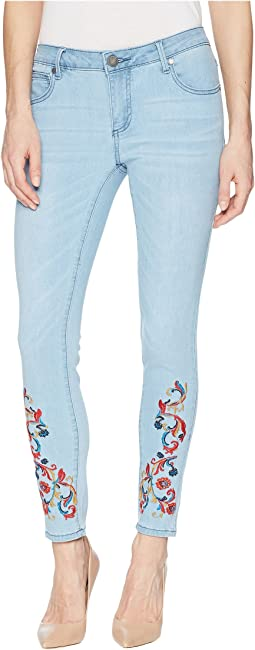 Embroidered Skinny Jeans in Light Denim