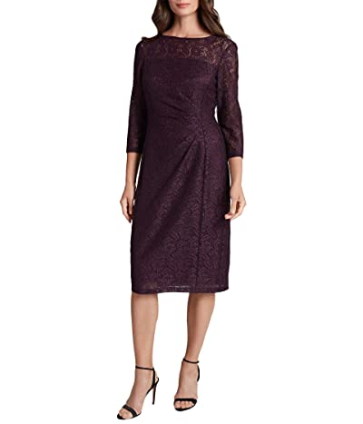 Tahari by ASL Petite Side Ruched Stretch Beaded Lace Cocktail Dress (Plum) Women