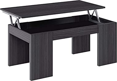 Habitdesign 001637G - Mesa de Centro Elevable Modelo Kendra, Mesita de Salon Comedor, Acabado en Gris Ceniza, Medidas: 100 cm