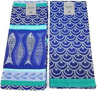 DII Design Imports Santorini Scallops Jacquard Blue Kitchen Dishtowel 2pk. Set