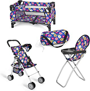fash n kolor Doll 3 Piece Play Set Baby Doll Accessories - Includes, 1 Pack N Play. 2 Doll Stroller. 3 Doll High Chair. Fi...