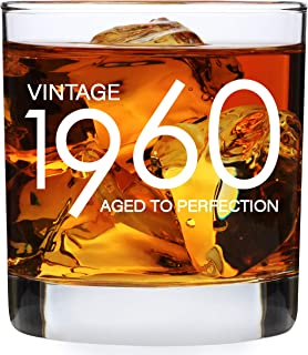 1960 60th Birthday Gifts for Men Women - 11 oz Whiskey Bourbon Lowball Glass - Funny Vintage 60 Year Old Present Ideas for...