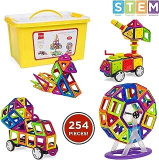 Best Choice Products 254-Piece Kids Mini Magnetic Shape Tiles w/ Storage Box, Multicolor