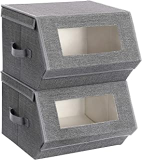 SONGMICS Boîtes de Rangement avec Fenêtre Transparente, Lot de 2, Pliable, Empilable, Couvercle Aimanté, Cadre métallique,...