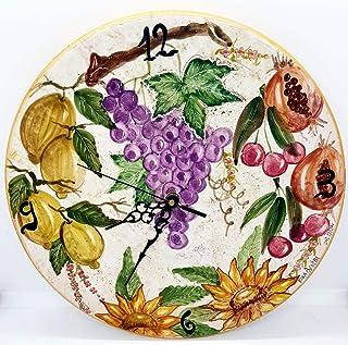 Orologio da muro Ceramica Cucina Linea Frutti Misti Realizzato e Dipinto a mano Le Ceramiche del Castello Made in Italy Di...