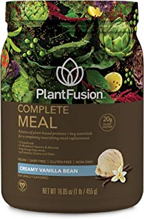 PlantFusion Complete Meal Plant Based Pea Protein Powder   Meal Replacement Shake   Dietary Supplement   Nutritional Drink   Vegan, Gluten Free, Non-Dairy, No Sugar, Non-GMO, Vanilla, 1 LB
