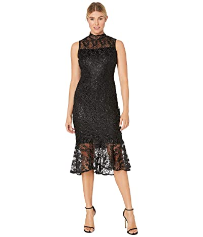 Calvin Klein Mock Neck Embroidered Lace Dress (Black) Women