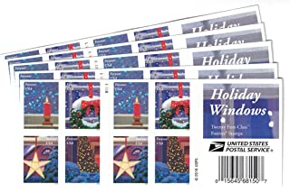 USPS Holiday Windows Forever Stamps 100 Stamps (5 Books of 20)