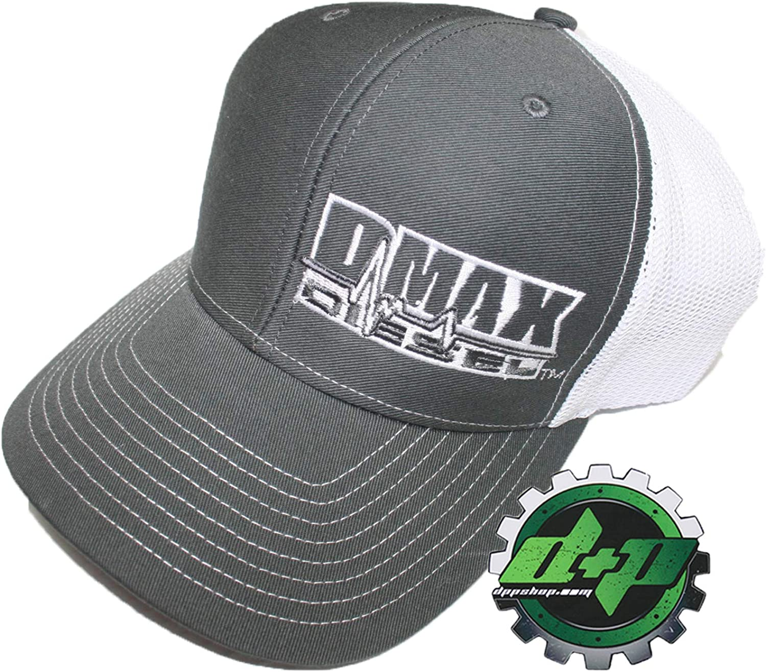 Diesel Power Plus Dmax Duramax Richardson Trucker Hat Ball Mesh Grey White Snap Back Mesh