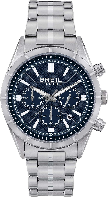 BREIL - Reloj de Caballero Colección LEAD EW0525 - Reloj de Hombre con Esfera Azul Analógica - Movimiento PE902 SUNON - Cuarzo 3H - Correa de Acero Inoxidable