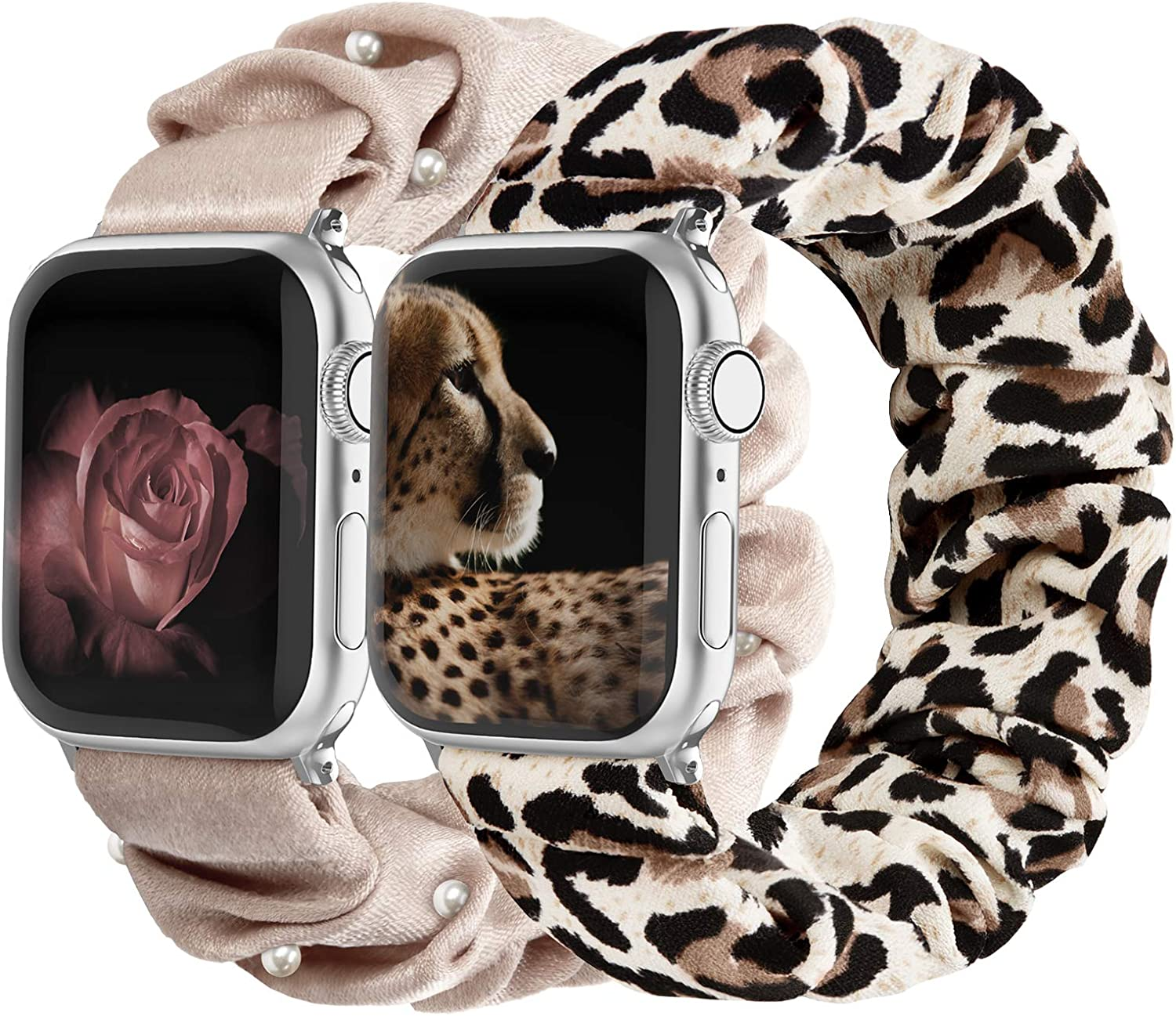 Compatible with Scrunchies Apple Watch Bands 42mm 44mm, Women Cloth Pattern Printed Fabric Wristbands Straps Elastic Scrunchy Band for iWatch Series 6 5 4 3 2 1 SE (Small Pink with Pearl, Leopard)