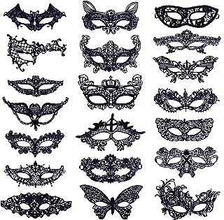 Máscara de Encaje Negro Máscaras de Mascarada Veneciano Máscaras de Mujer para Halloween Carnaval Fiesta de Baile 20 Piezas
