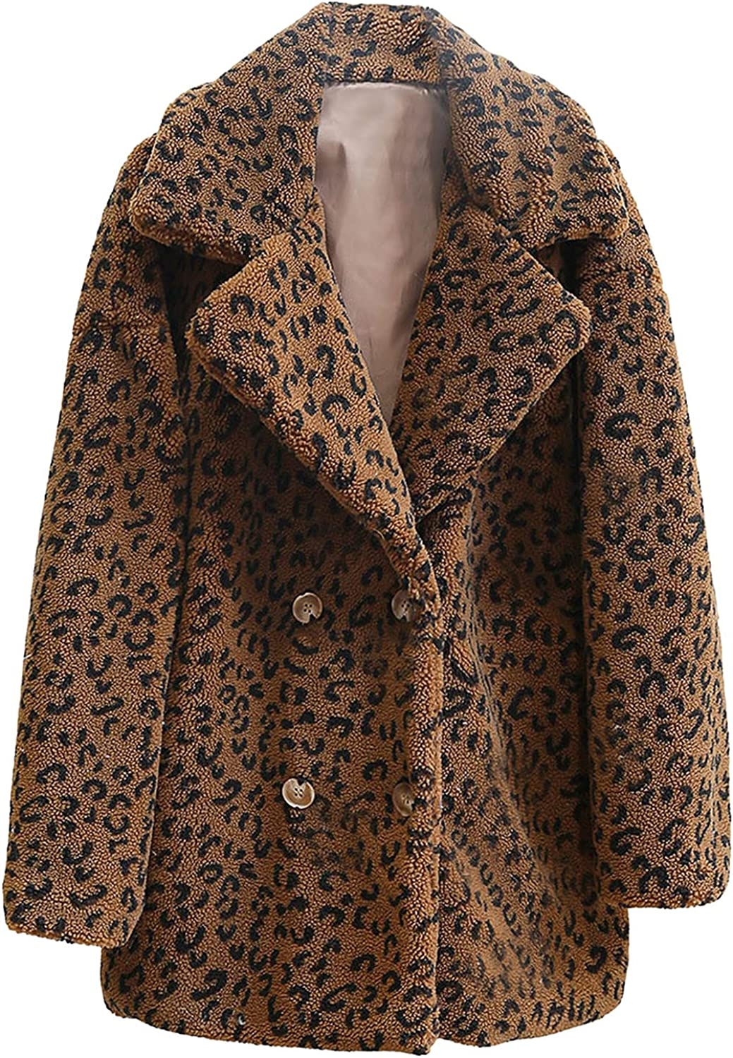 YfiDSJFGJ Womens Jacket Fashion Long Sleeve Open Front Leopard Print Faux Leather Mid-Length Thick Suit,Pink Ladies Jacket