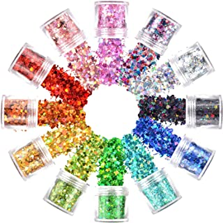Warmfits Holographic Face Glitter 12 Colors Total 120g Face Body Eye Hair Nail Festival Chunky Holographic Glitters Differ...