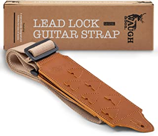 Guitar Strap Unique Lead Lock Design. 6 Easy Access Pick Holders. Durable 100% Fine Cotton Strap, Genuine Leather End Pieces. Comfortable-Adjustable Electric or Acoustic Guitar Accessory.