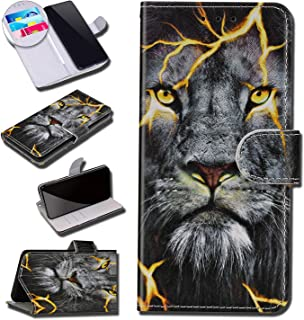 Urhause Case Compatibel met Huawei P10 Lite Case Glossy PU Lederen Portemonnee Cover met Kaartsleuven Cover Leeuw Cartoon ...
