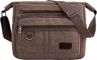 Men's Vintage Canvas Shoulder Bag for Men Women (Brown)