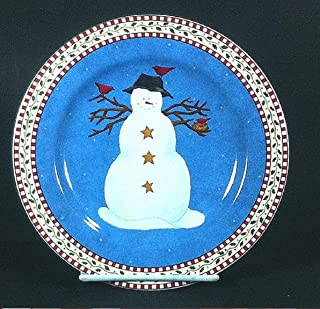 Sakura Snowman with Red Birds Salad Plate Debbie Mumm