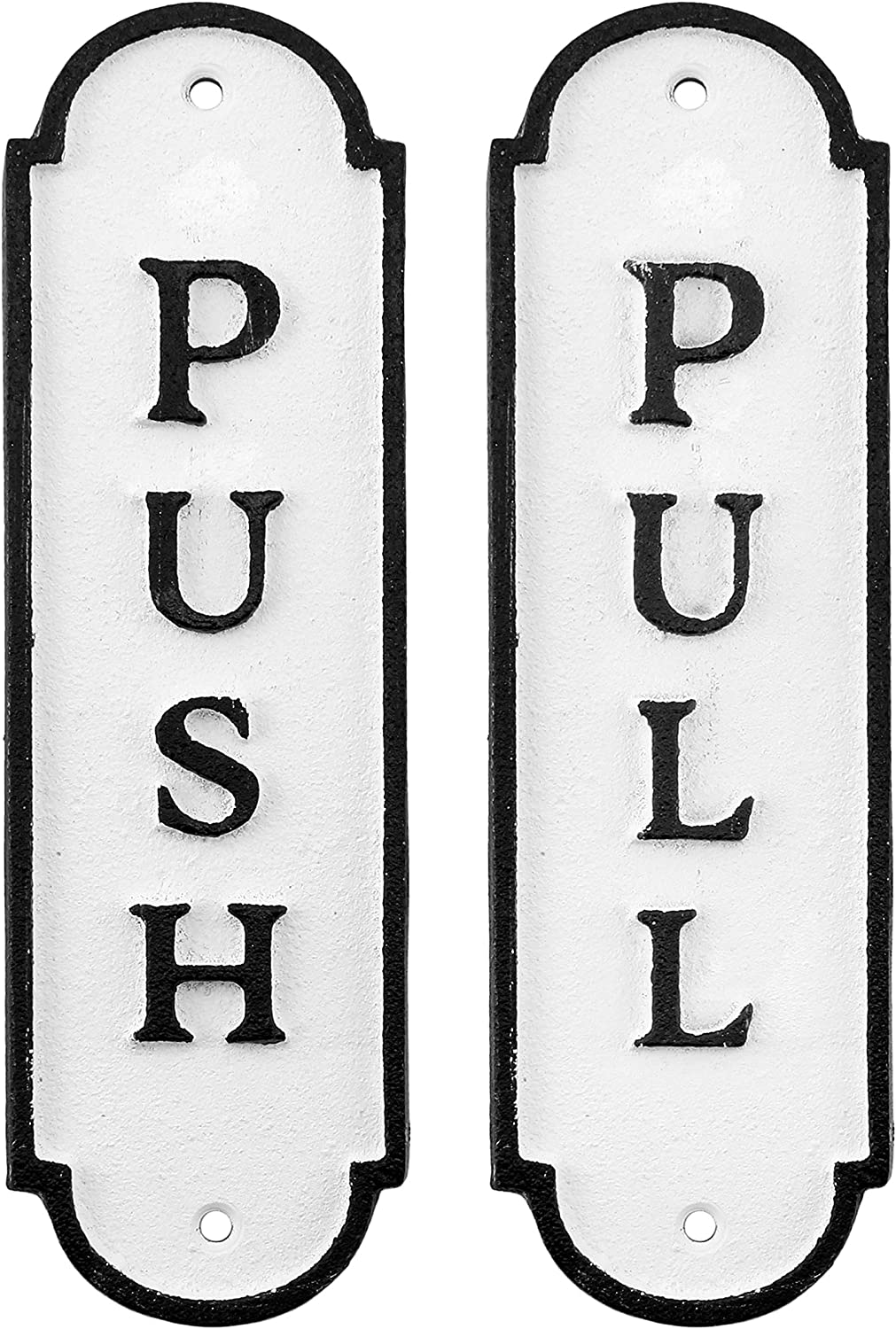 AuldHome Push Pull Door Inventory cleanup selling sale Signs Set of 2 ; Cast Farmhouse Iron Oakland Mall St