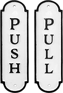 AuldHome Push Pull Door Signs (Set of 2); Cast Iron Farmhouse Style Vertical Signs for Home and Business