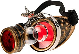 MFAZ Morefaz Ltd Veiligheidsbril, laszonnebril, laderende cyberbril, steampunk, gothi, ronde cosplay-bril, feestjurk, fanc...