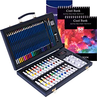 58 Piece Professional Art Set Deluxe Art Set in Portable Wooden Case-Painting & Drawing Set Professional Art Kit with 2 x 50 Page Drawing Pad and 1x 12 Page Drawing Pad for Kids, Teens and Adults/Gift