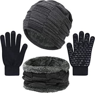 3 Pieces Winter Hat Scarf and Gloves Set for Men and Women, Knit Slouchy Beanie Cap&Neck Warmer&Screen-Touch Texting Gloves