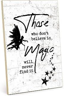 TypeStoff Placa de madera con frase en inglés «Magic», estilo vintage, regalo de magia, maravilla y creencia (tamaño: 19,5...