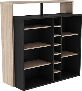3e923ed4ad04 Miroytengo Mueble Bar botellero Barra salón Color Roble y Negro Doble  encimera estantes y reposapies 110x112x48
