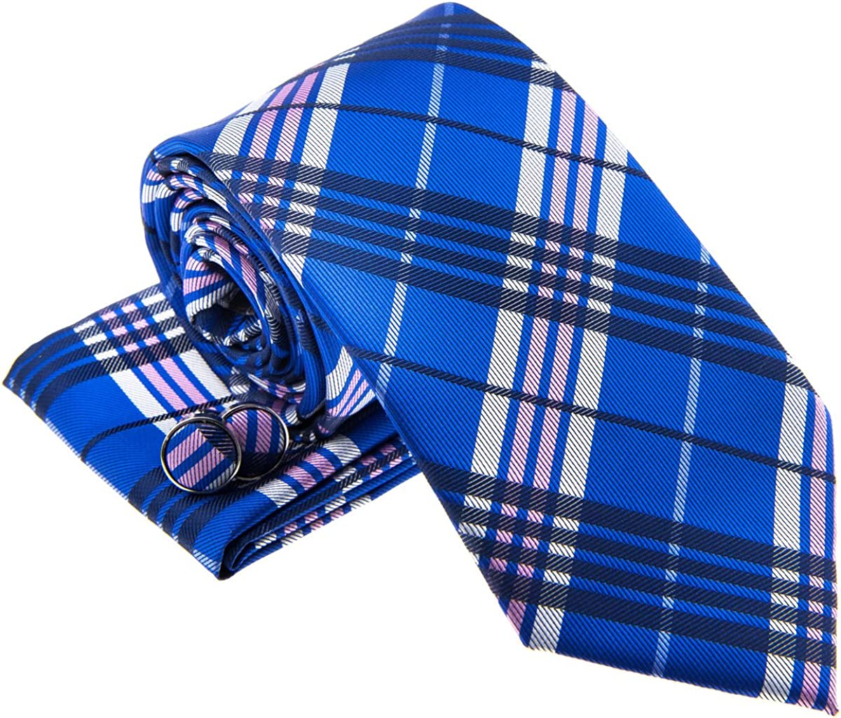 Stylish Tartan Plaid Check Woven Men's Tie Necktie w/Pocket Square & Cufflinks Gift Set