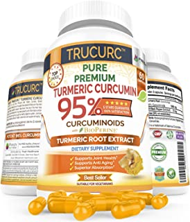 Organic Trucurc Turmeric Curcumin by Fresh Healthcare, 1000mg Tumeric Supplement Pills with 95% Standardized Pure Curcuminoids and BioPerine Black Pepper Extract in 60 Capsules, Bonus E-Book Included
