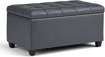 Simpli Home Sienna 34 inch Wide Rectangle Lift Top Storage Ottoman Bench in Stone Grey Tufted Faux Leather, Footrest Stool, Coffee Table for the Living Room, Bedroom and Kids Room, Traditional