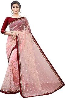 hian Women's Net Saree With Blouse Piece