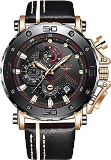 LIGE Fashion Men Watches Multifunction Chronograph Leather Wristwatch Waterproof Analog Quartz Clock Sport Casual Watch St...