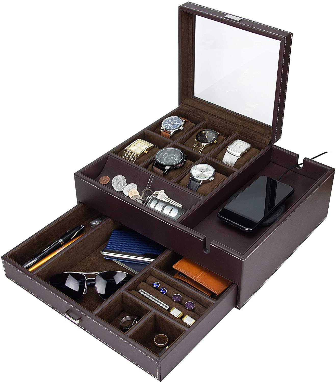 HOUNDSBAY Commander Dresser Valet Watch Box Case & Mens Jewelry Box Organizer with Smartphone Charging Station (Brown/Brown) : Clothing, Shoes & Jewelry