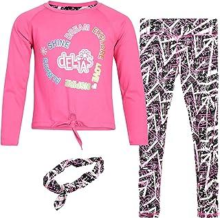 مجموعة ملابس رياضية للبنات من DELiAs - مجموعة تي شيرت طويل الأكمام وبنطال ضيق مع عصابة رأس، مقاس 5/6، قلب وردي
