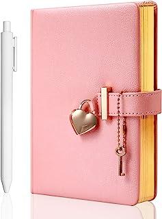 دفتر خاطرات قفل ترکیبی به شکل قلب با صفحه کلید بدون رنگ PU جلد چرم سازمان دهندگان شخصی هدیه نوت بوک مخفی برای دختران و زنان B6 اندازه 5.3x7 اینچ صورتی